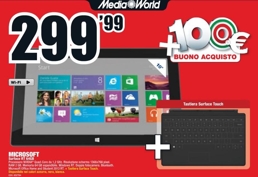 35fec64e21 Surface RT 64GB e Touch Cover a 299€ da Mediaworld (oltre un buono di 100€)  - HDblog.it