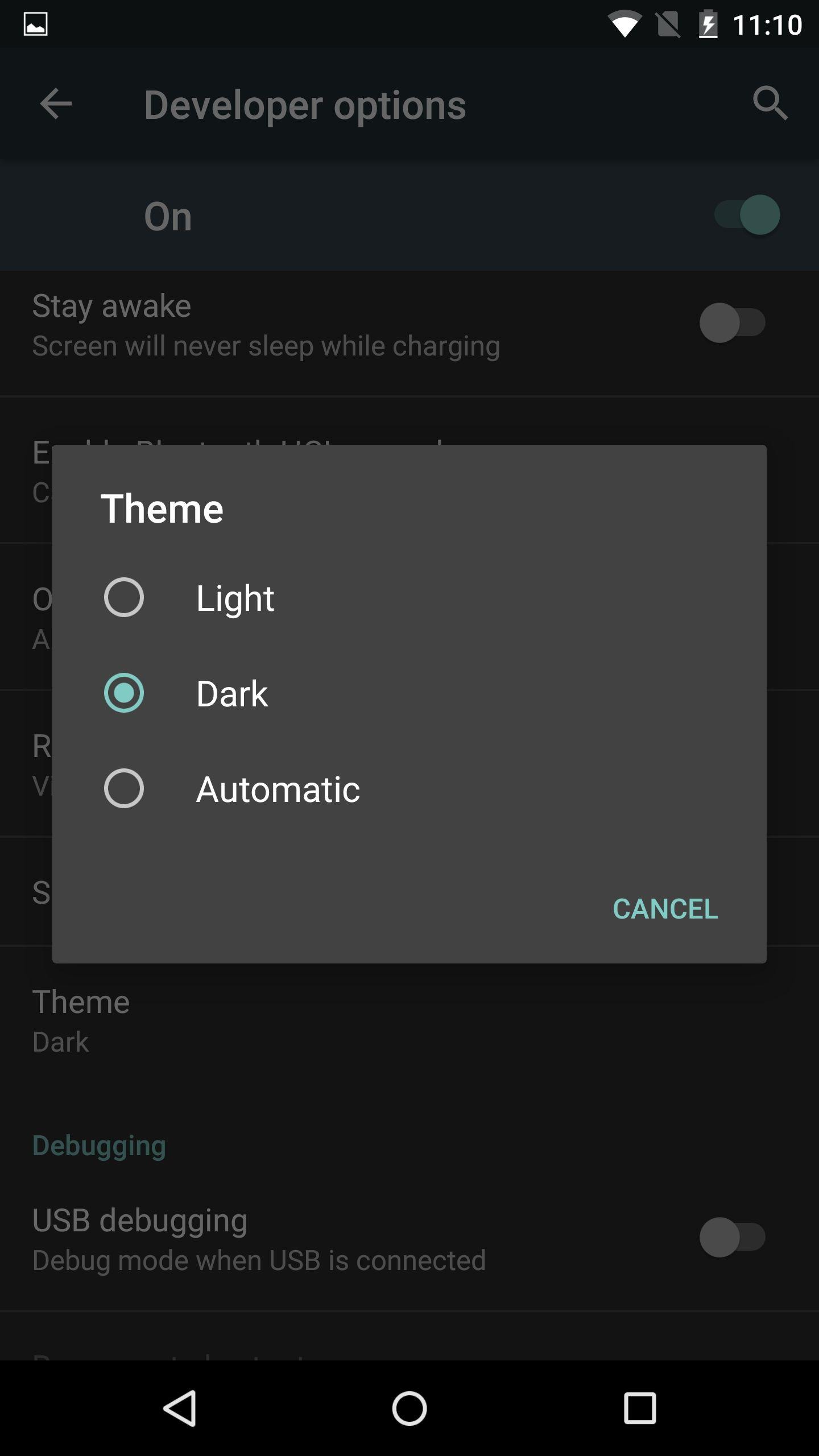 Sfondo nero su android