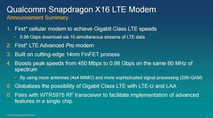 Con il nuovo modem LTE Qualcomm X16 si entra nell'era dei