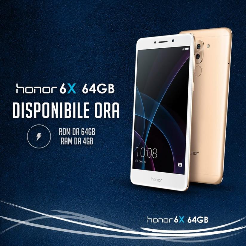 Honor 6X, da oggi in vendita con 4/64GB di memoria a 299