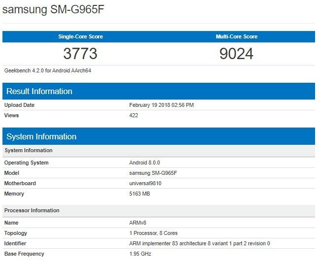 Galaxy S9+ Exynos appare su Geekbench
