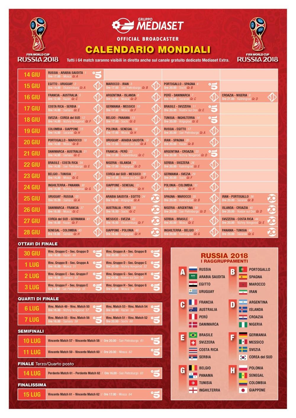Mondiale Calendario.Mondiali Di Calcio 2018 Al Via Ecco Il Calendario Con Tutti