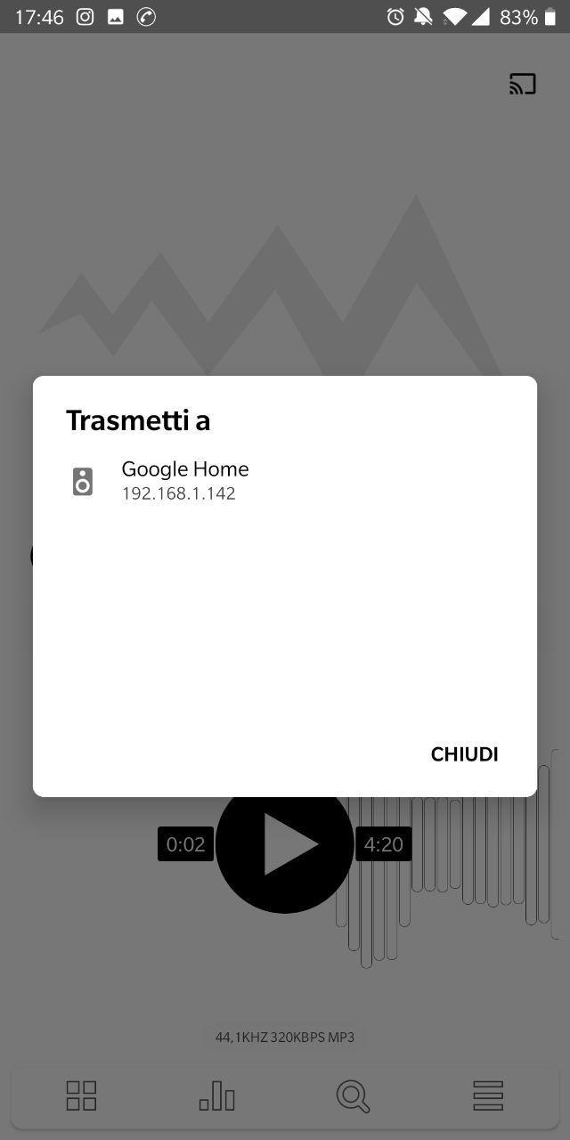 Poweramp (beta) introduce il supporto a Chromecast e Google